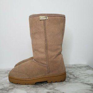 Bearpaw Emma Mid Calf Winter Boots Suede Cozy Tan